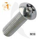Metrische Resis-TX  Flachrundkopf A2  / M10 x  70 // 100 Stück